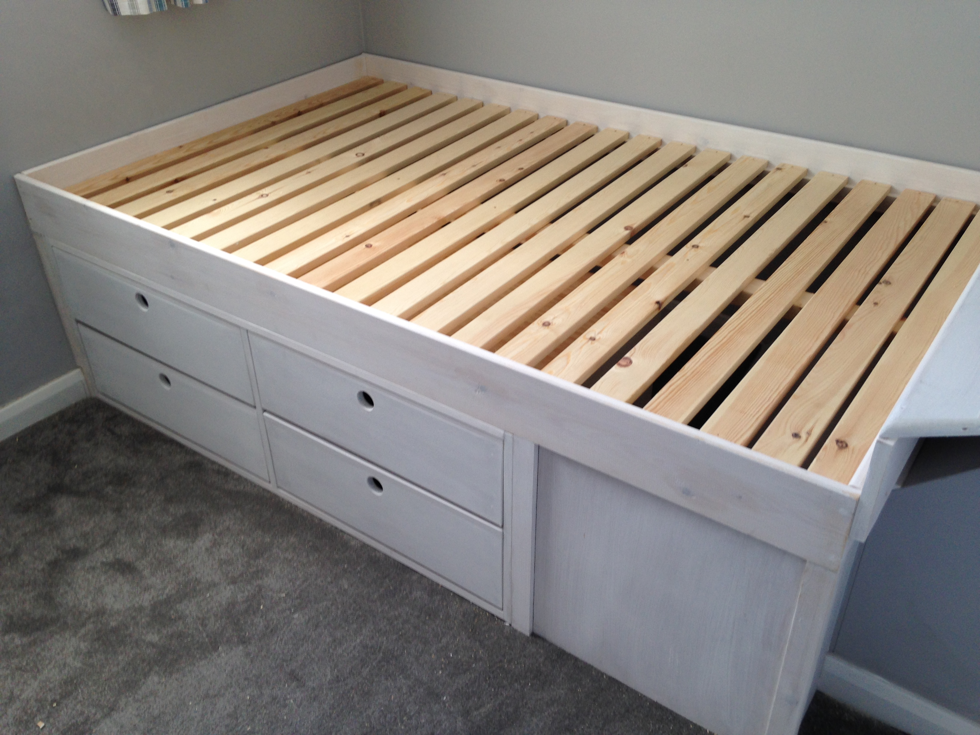 Extra storage under the bed. Great for keeping a house tidy!